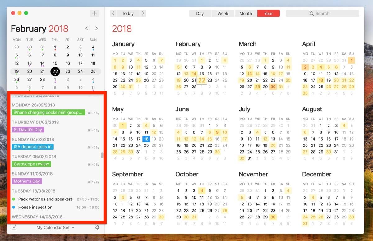 apple calendar list view mac