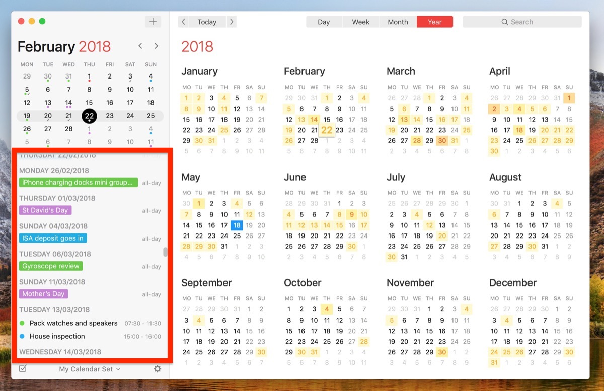 Weekly Calendar App Mac : How to view all events as a list in your mac s calendar