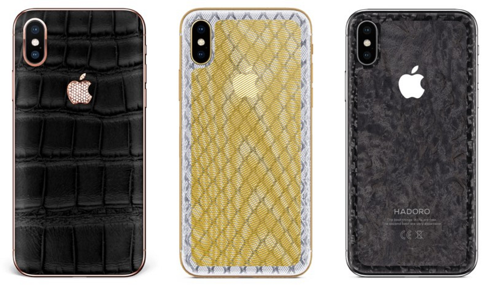 Three iPhone XS using protective cases of different patterns.
