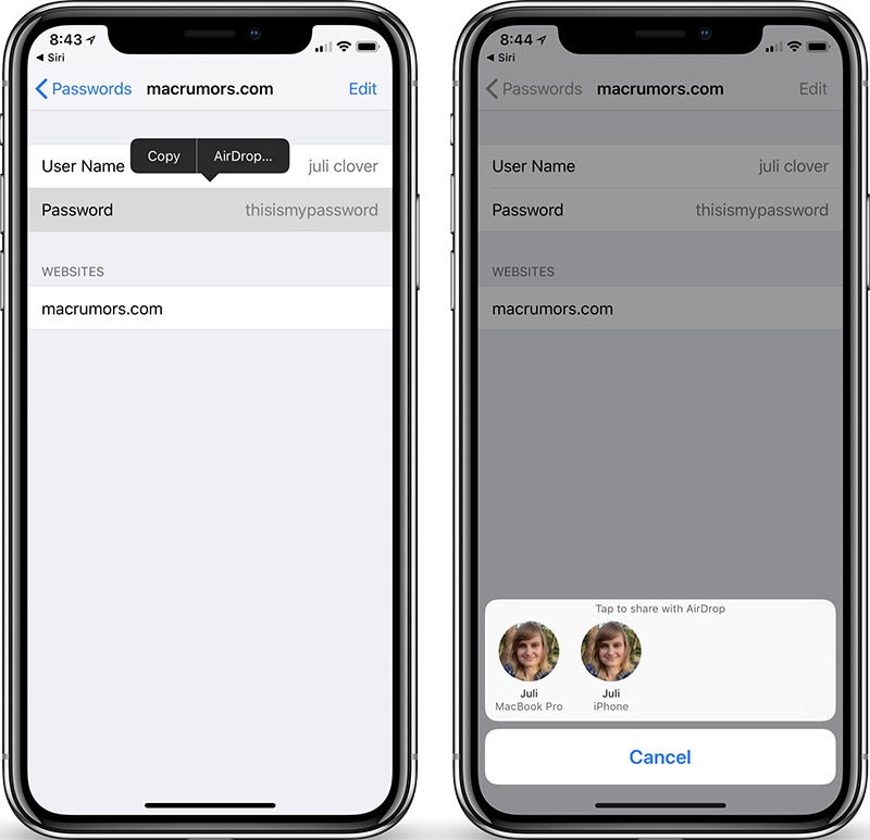 Share Passwords With AirDrop From iOS 12's New Password