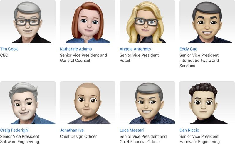 Apple Overhauls Leadership Page With Memoji Avatars for