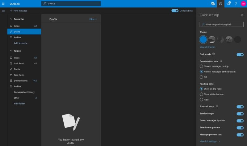 highly requested dark mode comes to outlook web mail service macrumors