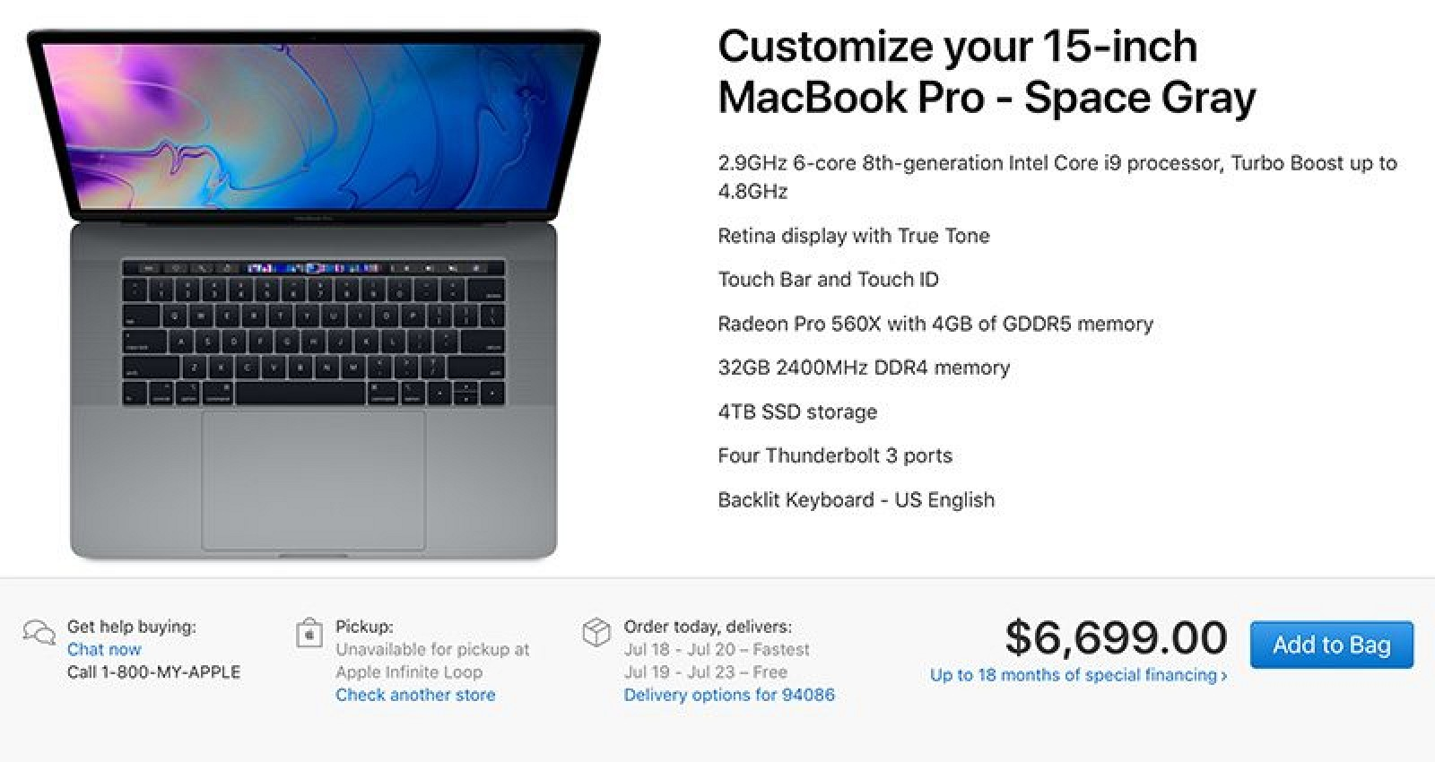 Maxed Out 15-Inch MacBook Pro Priced at $6,699 for 2.9GHz Chip, 32GB RAM and 4TB SSD