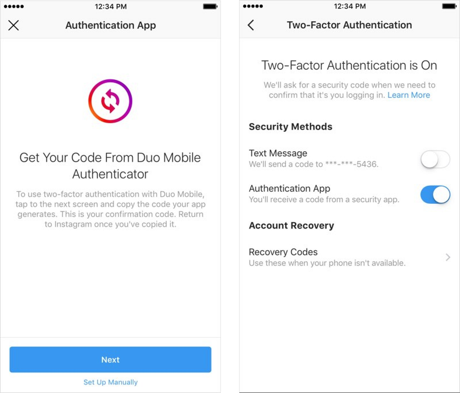 Instagram Announces Support for Two-Factor Authentication Apps and