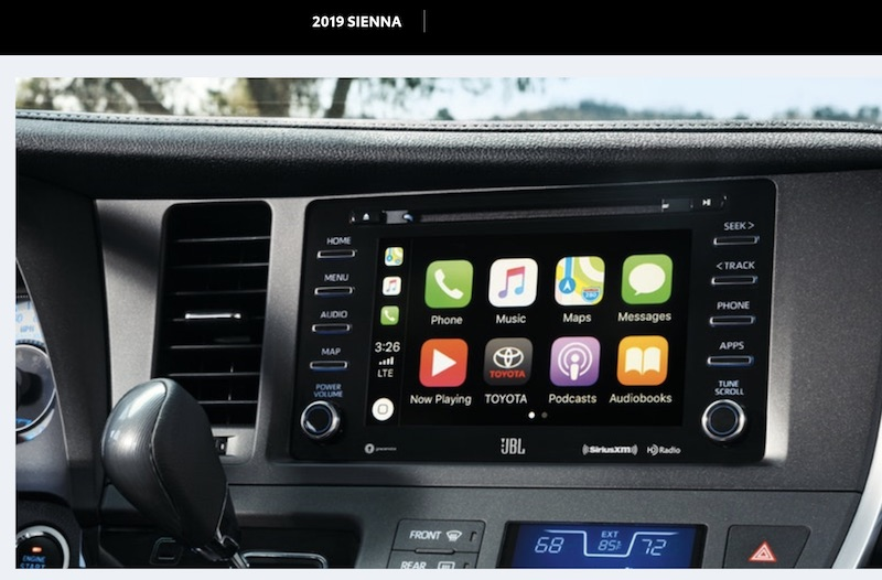 Le Se And Xle Trims Of The 2019 Sienna All Feature A Seven Inch Touchscreen Display On Dashboard With Toyota S Custom Entune 3 0 Infotainment System