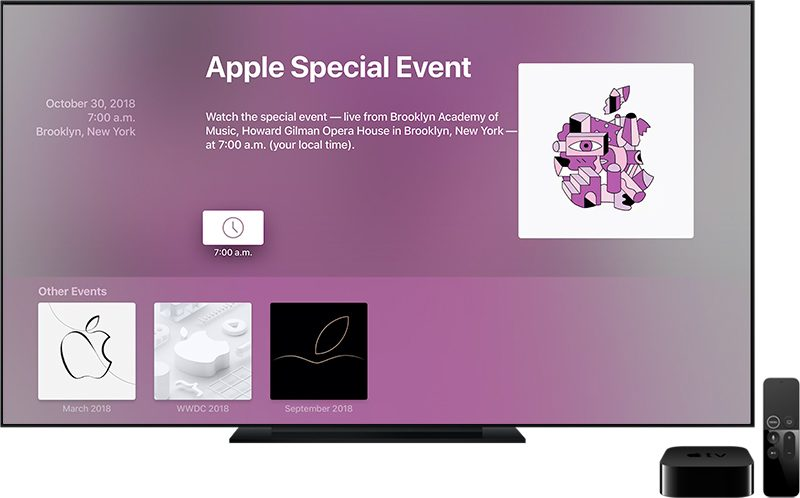 Apple Updates Events App for Apple TV Ahead of October 30th