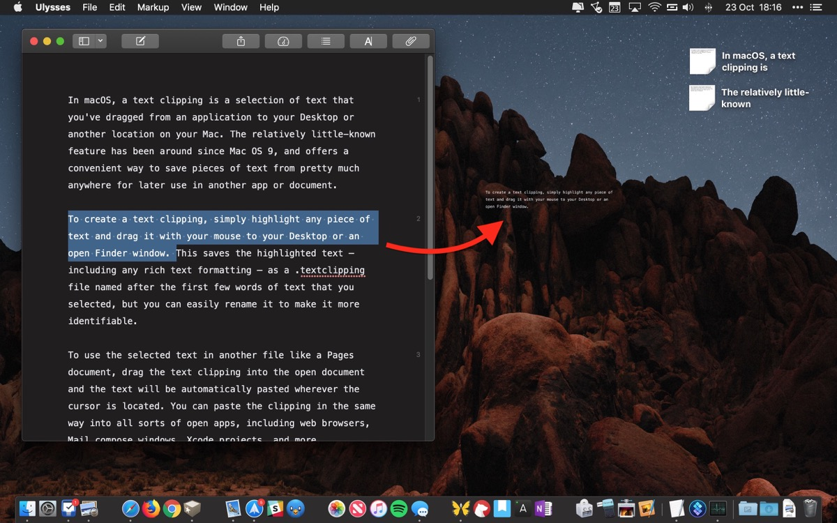 To Create A Text Clipping Simply Highlight Any Piece Of And Drag It With Your Mouse Desktop Or An Open Finder Window