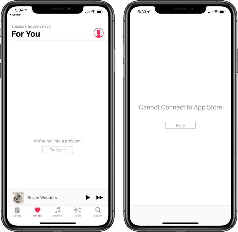 App Store, iTunes Store, Apple Music and More Experiencing