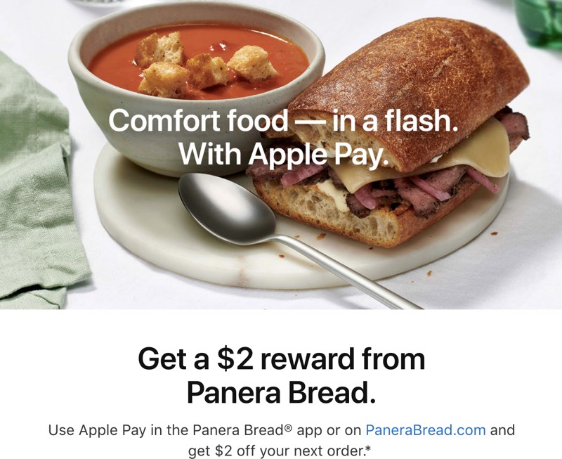 Apple Pay Promo Offers $2 Off Future Panera Bread Order With