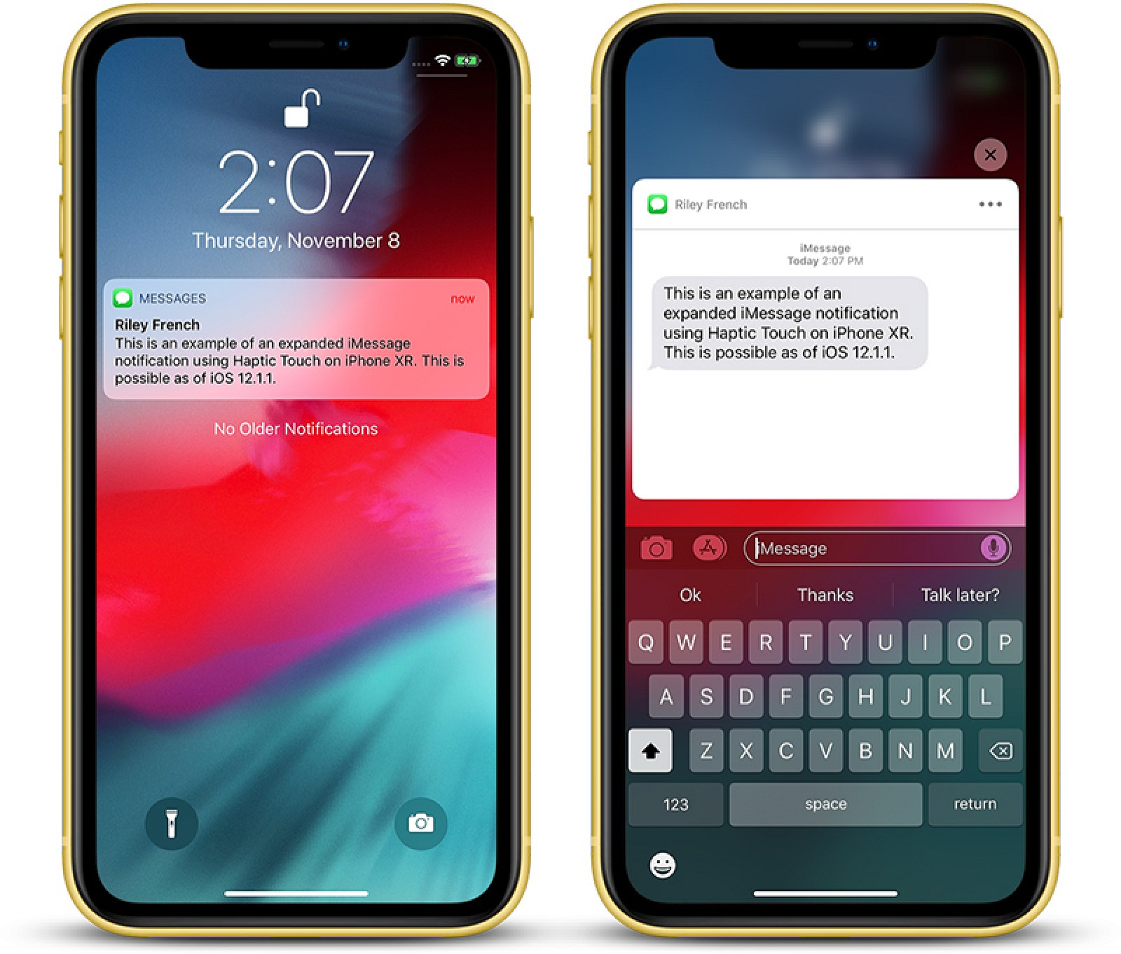 Haptic Touch Will Work With Notifications on iPhone XR in