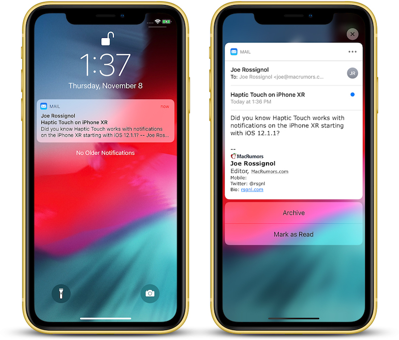 haptic touch will work with notifications on iphone xr in ios 12 1 1