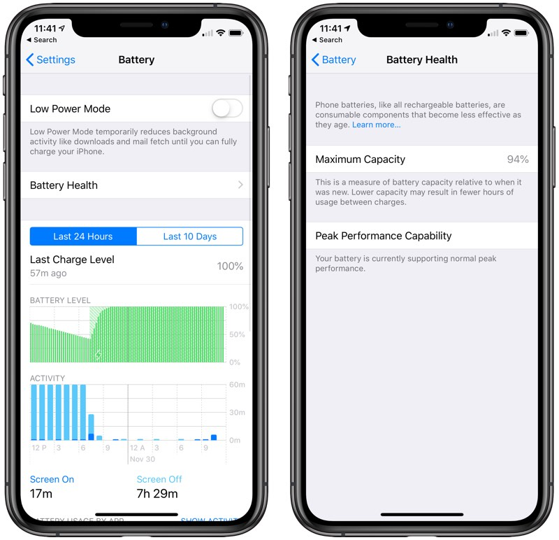 iphone 6s battery capacity not showing