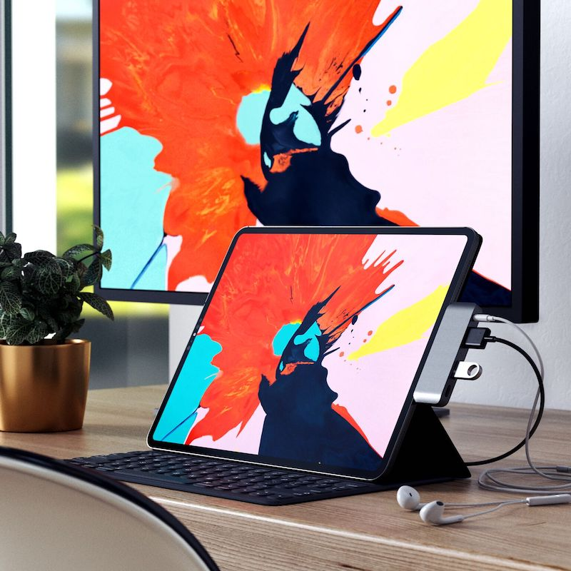 satechi launching usb c hub for new ipad pro 4k hdmi headphone jack usb c with power delivery and usb a