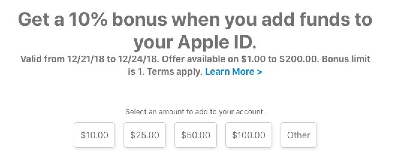 Apple Expands 10% Bonus When Adding Funds to Apple ID to More Countries Through December 24