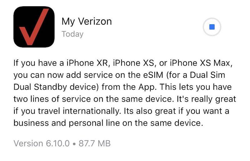 Verizon App Now Allows eSIM Activation on iPhone XS, iPhone