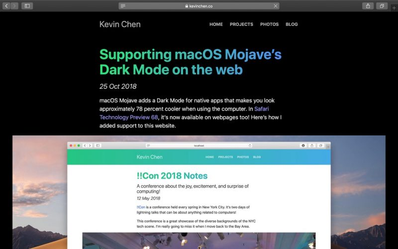Website Demos Safari Browser's Upcoming Support for Dark Mode CSS in