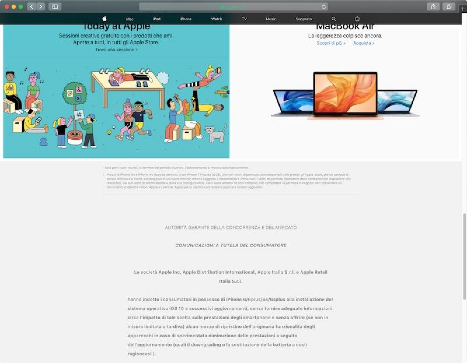 photo of Apple Forced to Add Notice About iPhone Slowdown Saga on Italian Homepage image
