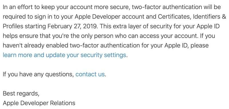 Apple Requiring Two-Factor Authentication for Developer