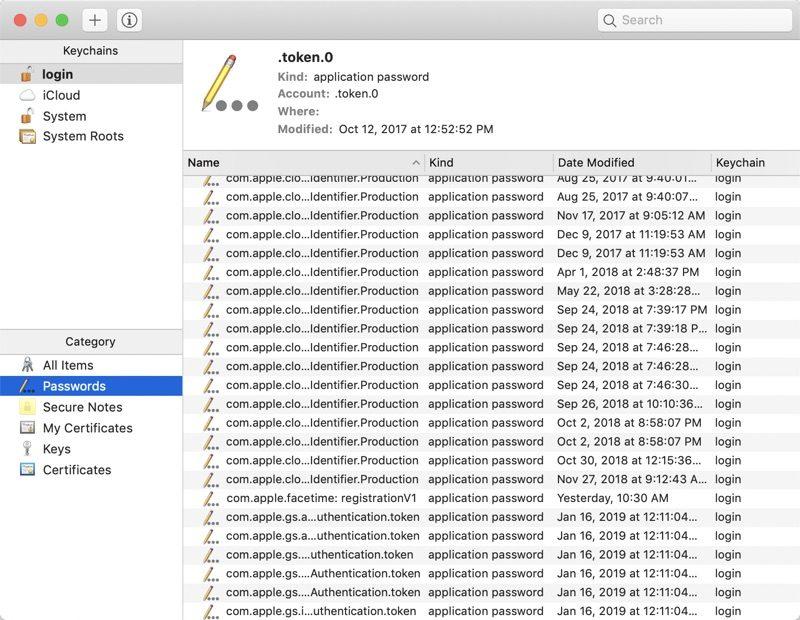 mac keychain not found error