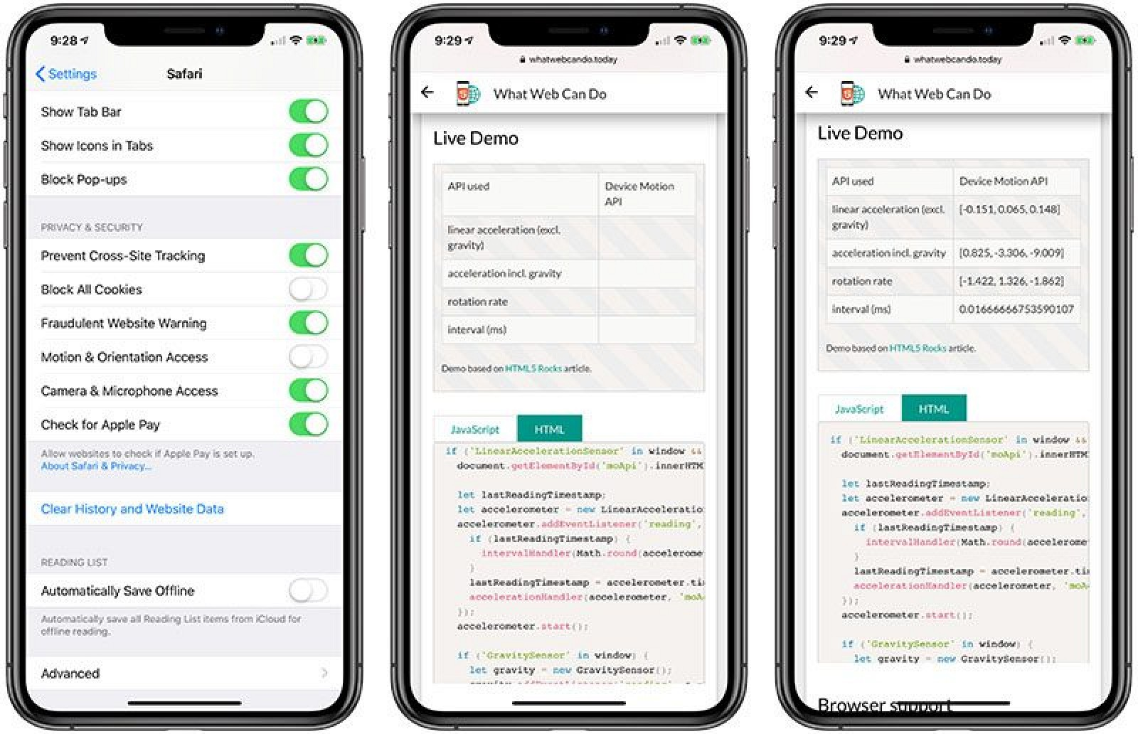 Apple to Limit Accelerometer and Gyroscope Access in Safari on iOS 12.2 for Privacy Reasons