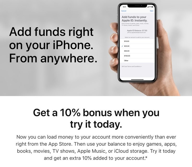 Apple Offering 10% Bonus When Adding Funds to Your Account for App