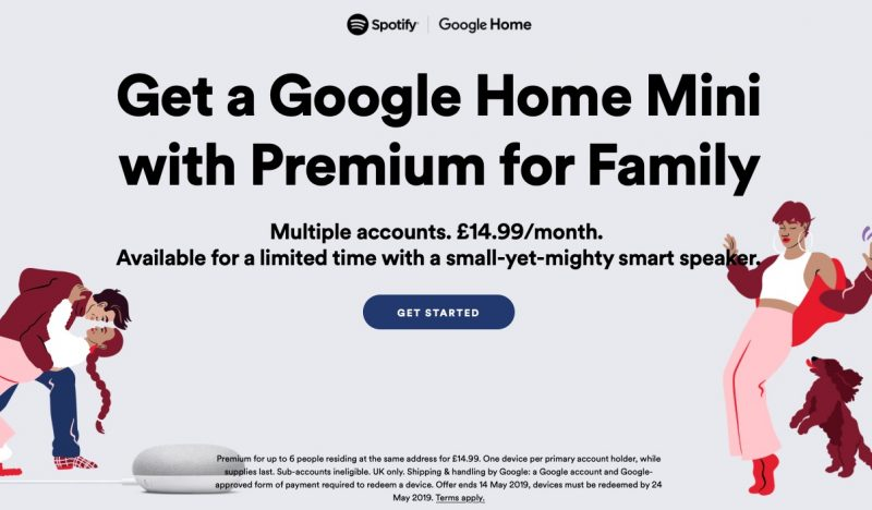 8b5898b7ab2c8 Spotify on Monday began offering all premium Family plan subscribers in the  U.K. a free Google Home Mini smart speaker.