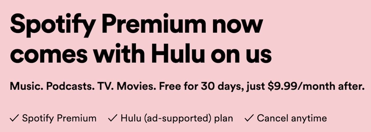 Spotify Premium Now Includes Hulu's Ad-Supported Plan at No