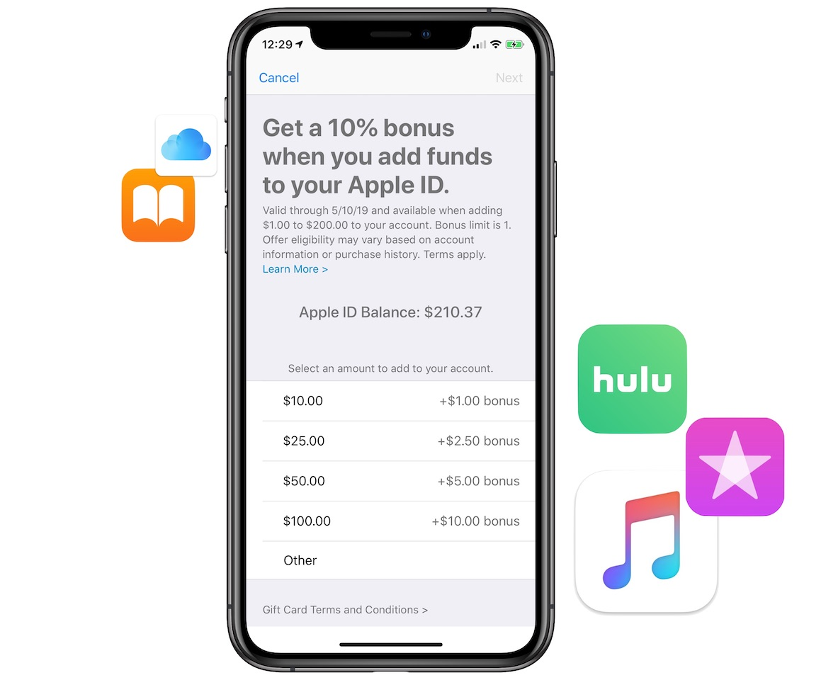 Apple Offering 10% Bonus iTunes Credit When Adding Funds to