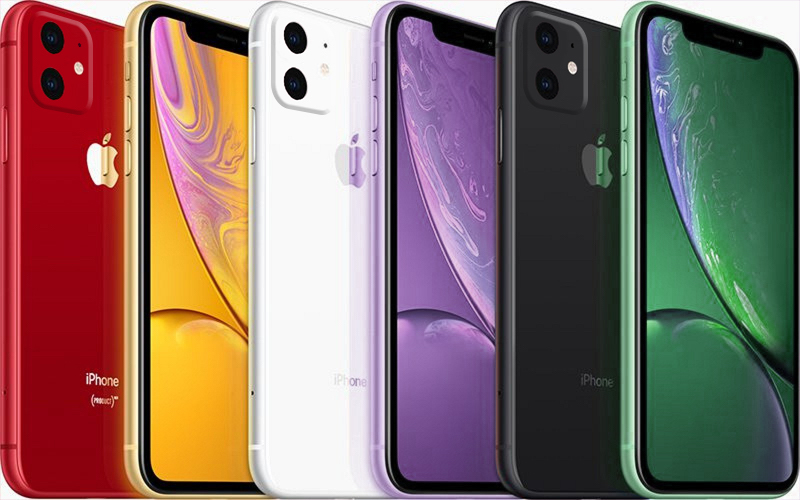 macrumors mockup of 2019 iphone xr in new green and lavender colors