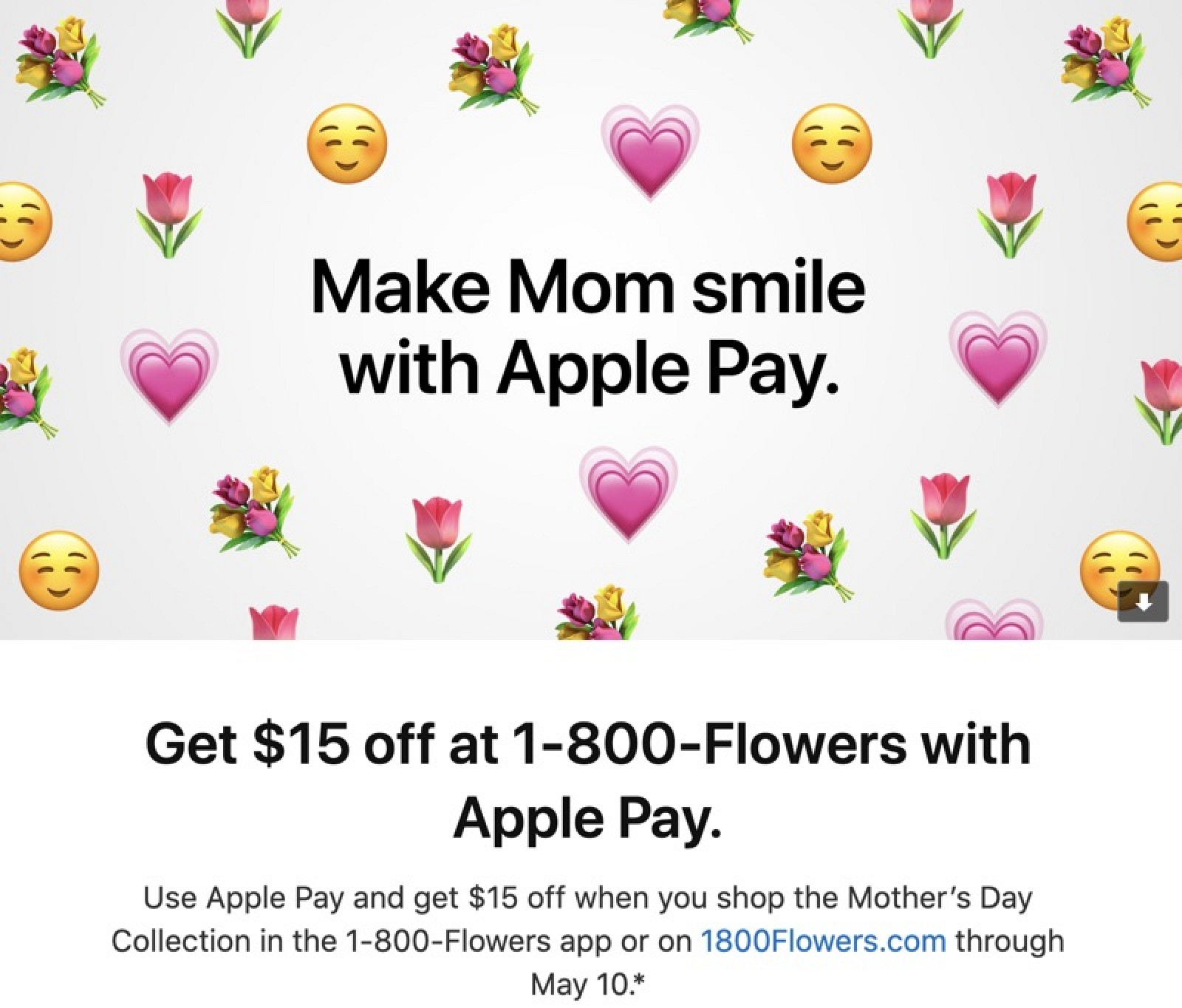apple pay promo offers 15 off 1 800 flowers in celebration of mother 39 s day macrumors. Black Bedroom Furniture Sets. Home Design Ideas