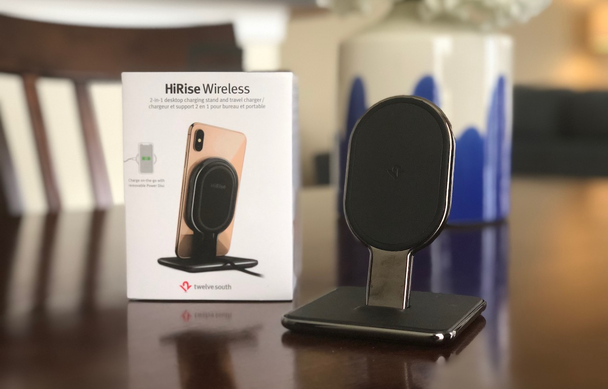 评论 十二南的新HiRise无线从支架转换到垫子为iPhone和AirPods充电