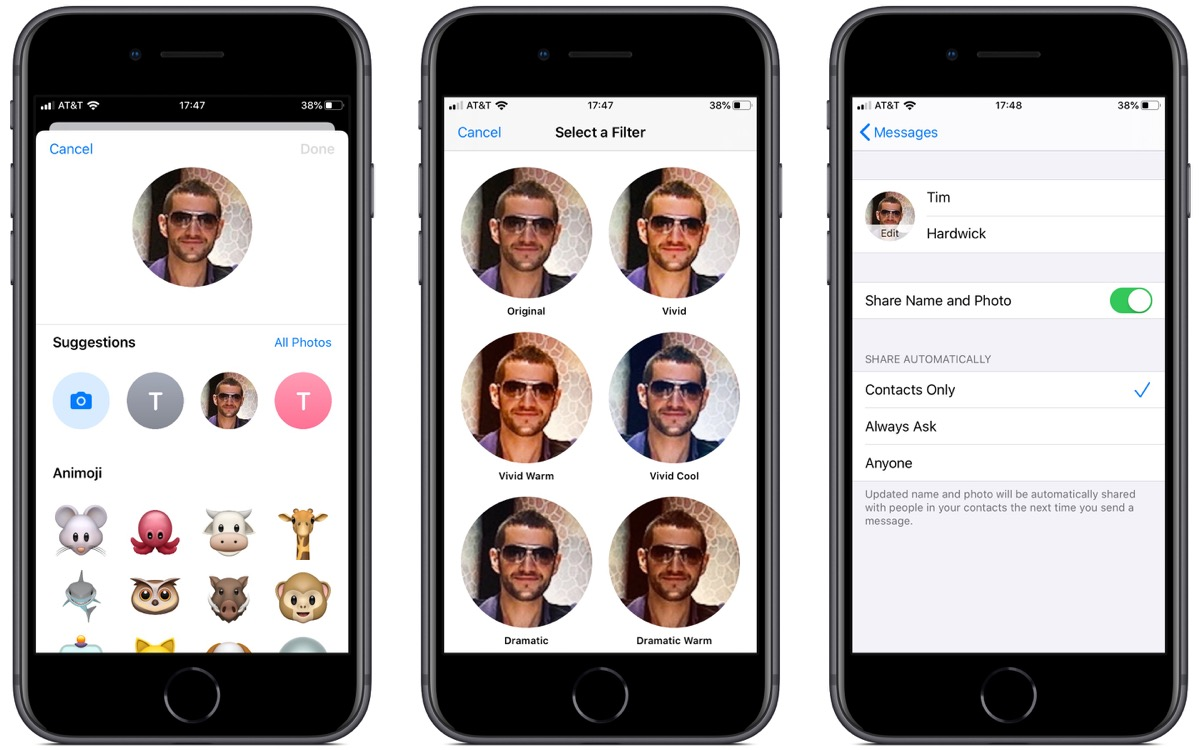 Image result for Add Customized iMessage Profile Photo in the latest iOS 13