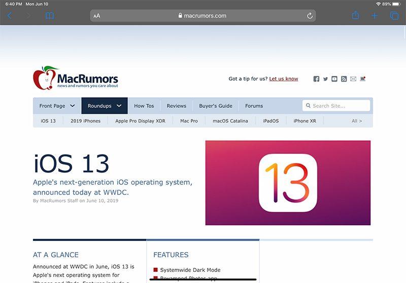 Safari on iPadOS full desktop site
