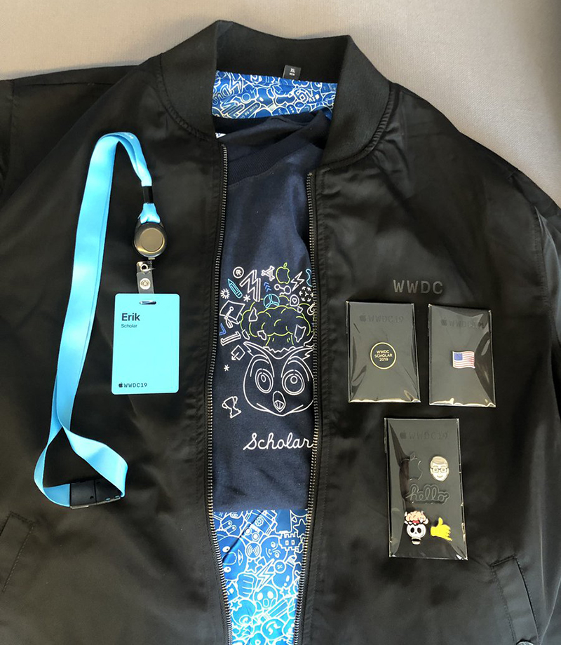 Apple Gifts WWDC 2019 Attendees Swag bag with Reversible Jacket, Magnetic Pins, More