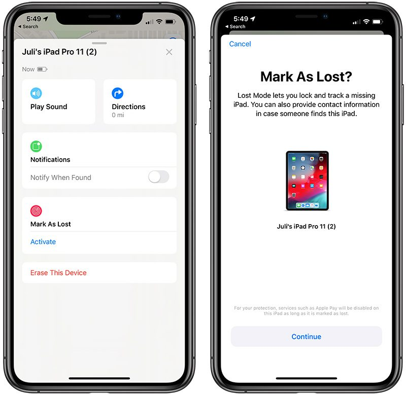 new styles 0f87c 01972 There s an option to mark a device as lost, which locks the lost device,  disables Apple Pay, and allows contact information to be put right on the  lock ...