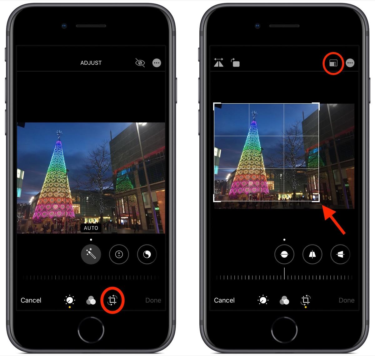 photos editing interface in iOS 13
