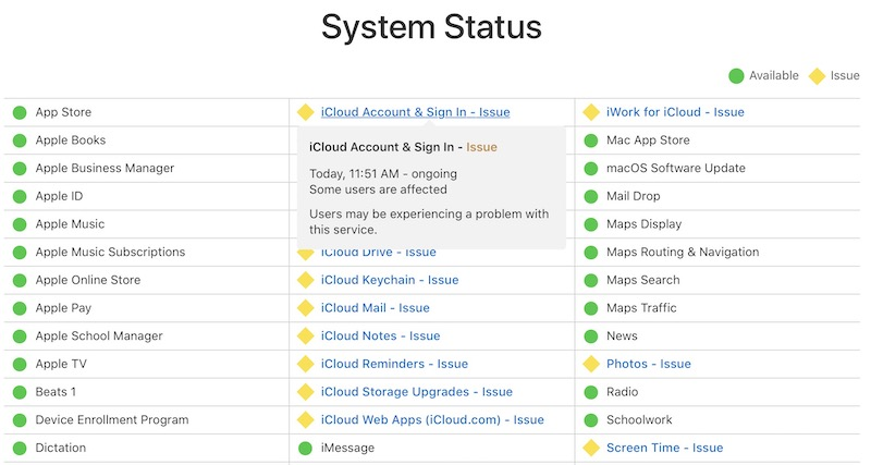 Apple Experiencing Issues With iCloud Services and Retail Store