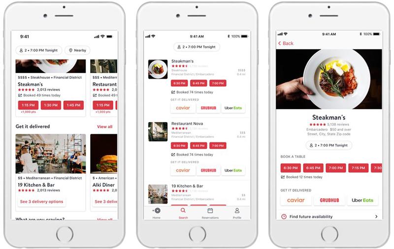 Opentable Partners With Caviar Grubhub And Uber Eats To