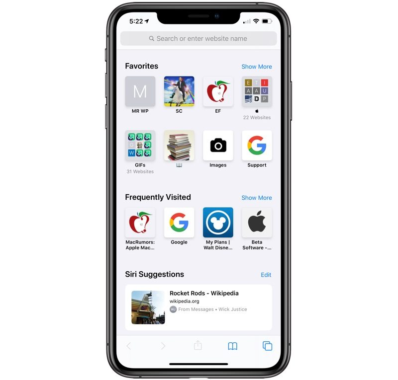 safari start page in iOS 13