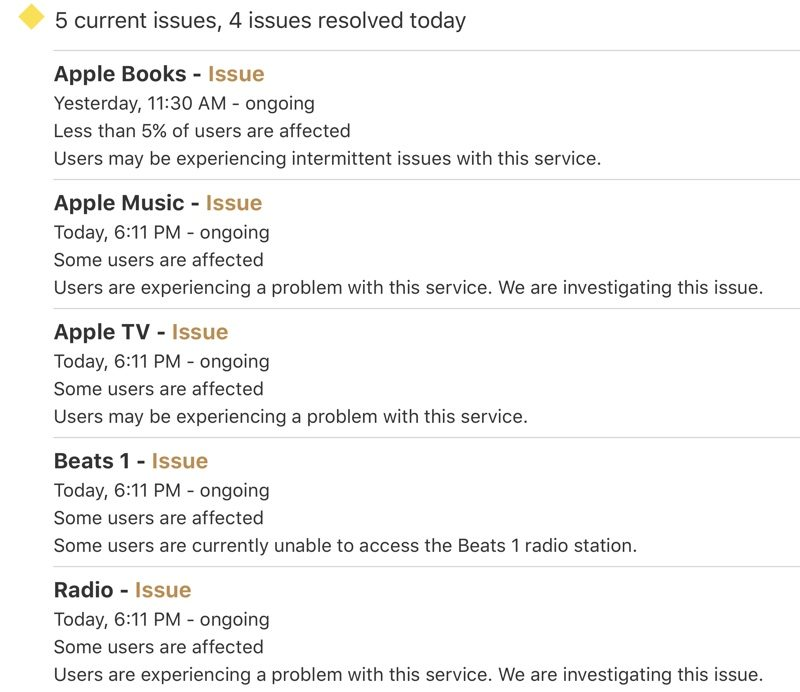 Apple Music, Apple TV and Apple Books Experiencing Outage [Update
