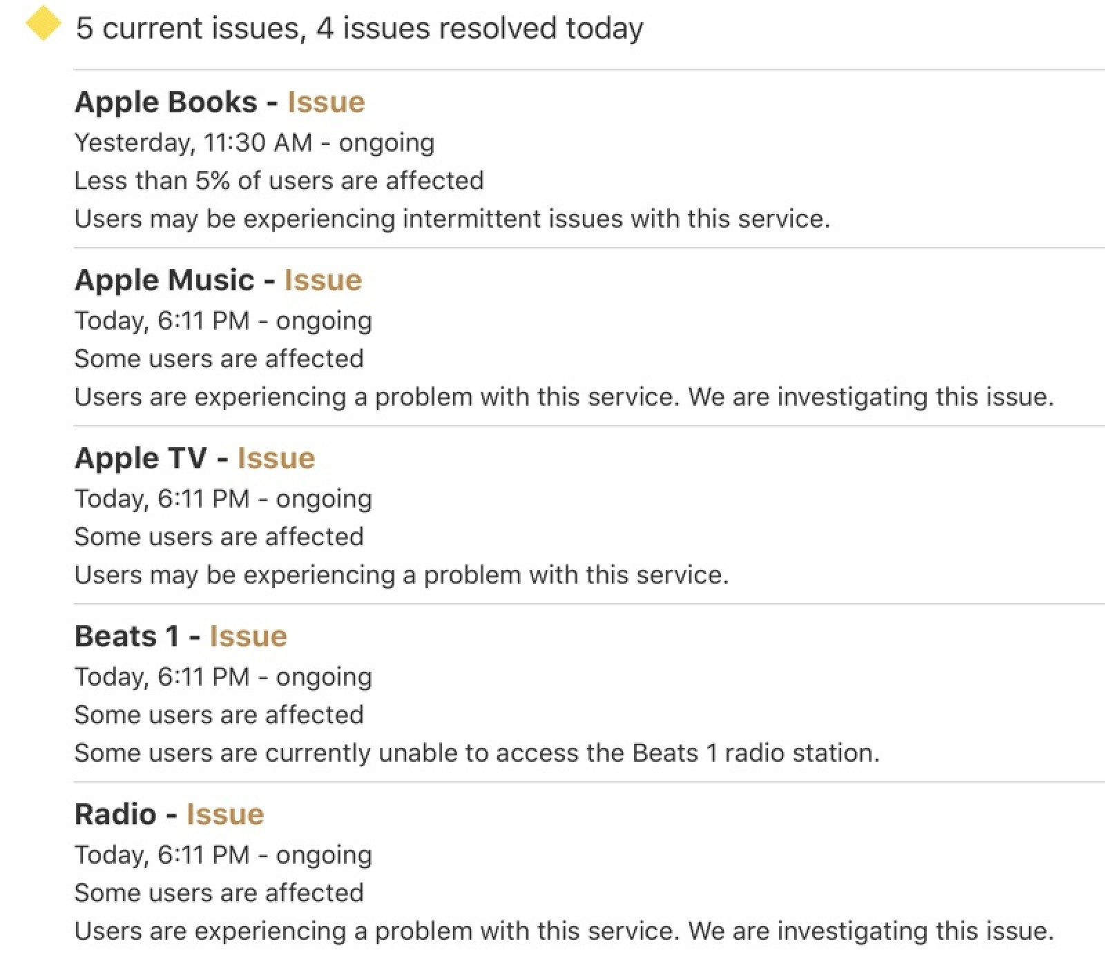 Apple Music, Apple TV and Apple Books Experiencing Outage [Update: Back Up]