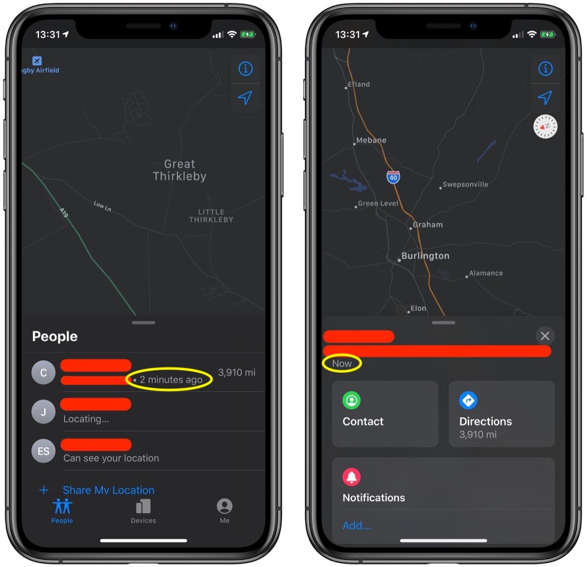 如何在 iPhone 上手动刷新「查找」应用中设备的最新位置?