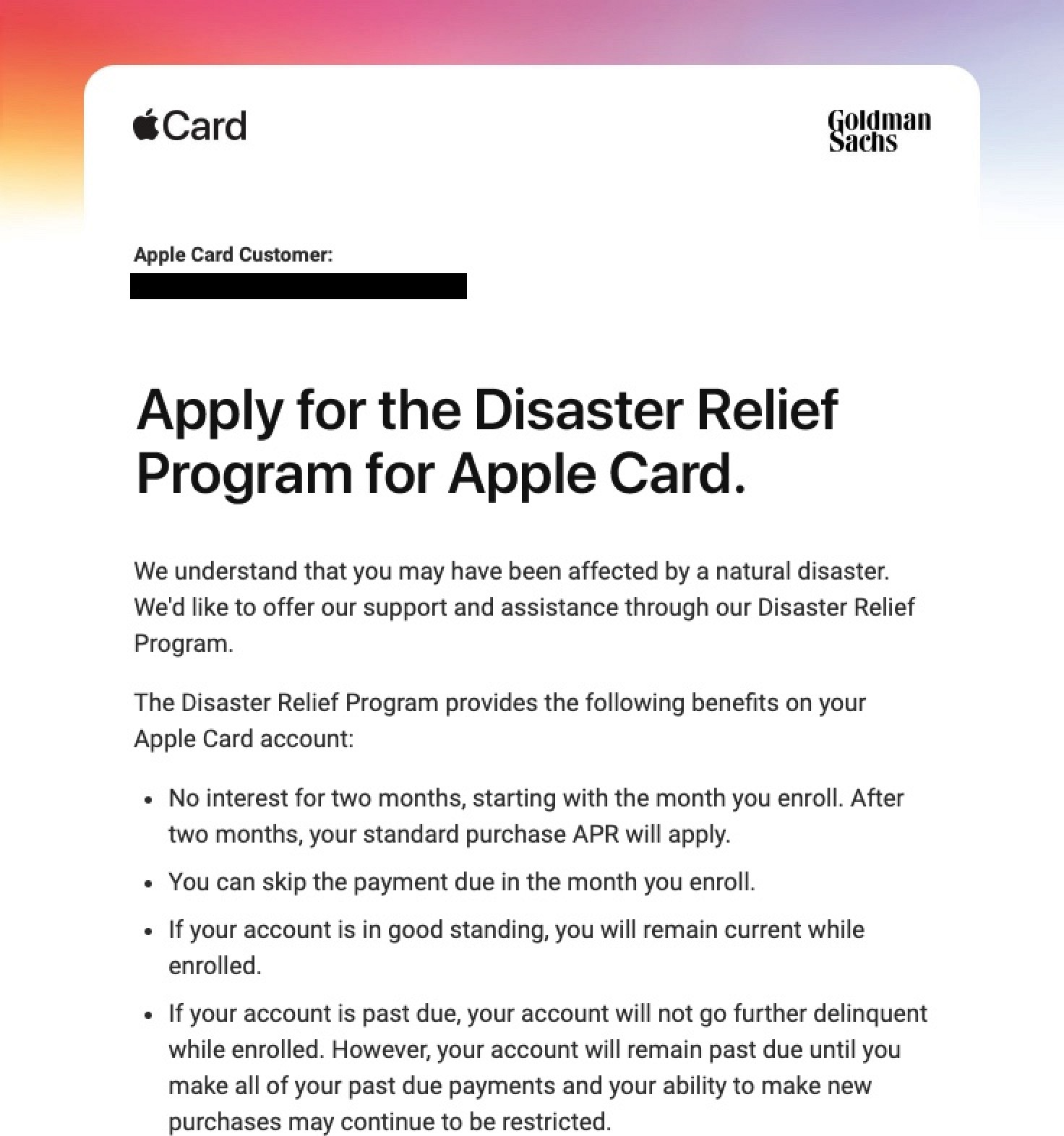 photo of Apple Offers Disaster Relief Program for Apple Card Holders image