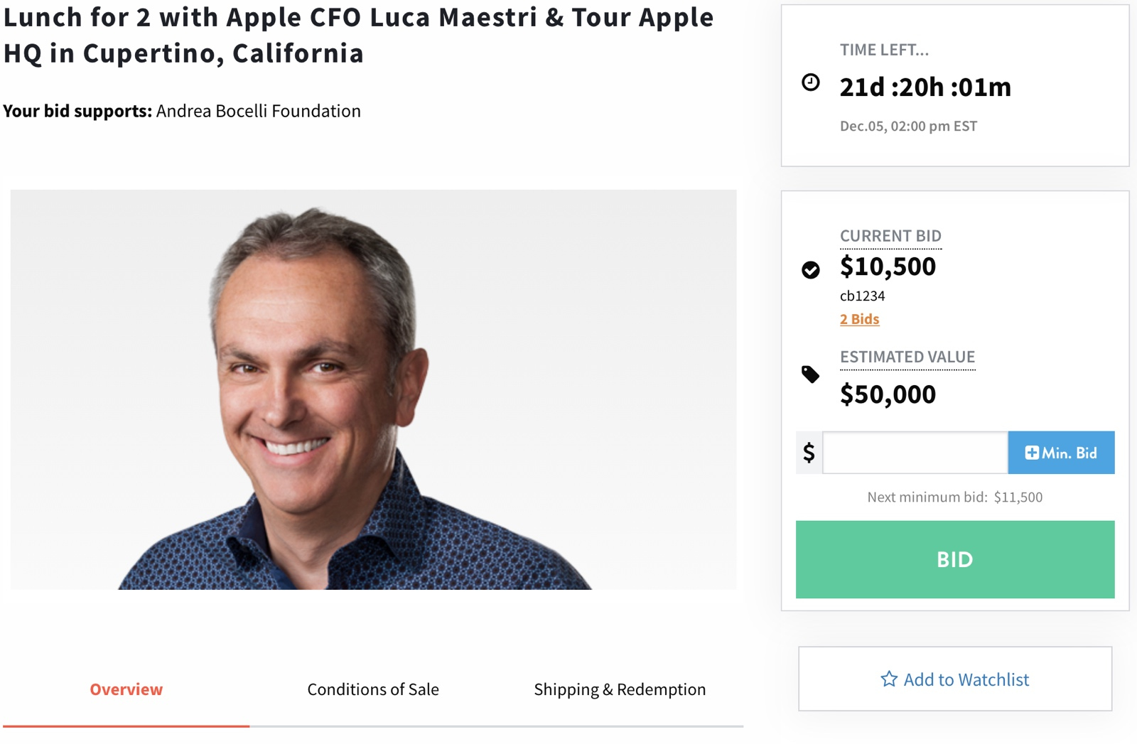 Apple CFO Luca Maestri Auctions Lunch and Apple HQ Tour for Charity