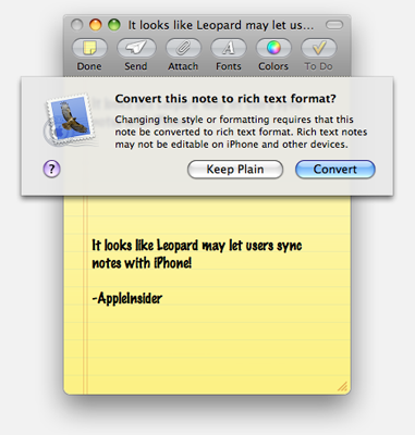 sync notes from mac to iphone leopard to sync iphone notes mac rumors 1762