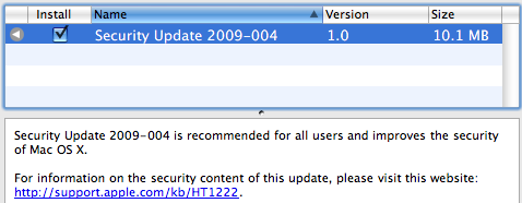 Apple Releases Security Update 2009-004 for Leopard and