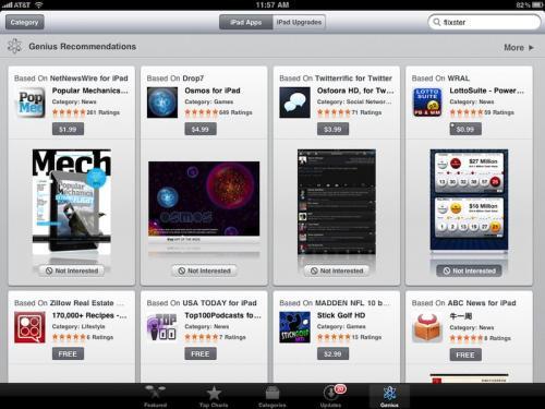 apple adds 39 genius 39 tab to ipad app store mac rumors. Black Bedroom Furniture Sets. Home Design Ideas