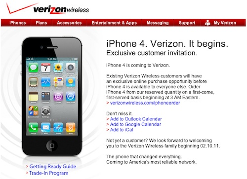 verizon email on iphone verizon confirms iphone launch for existing customers at 3 9930