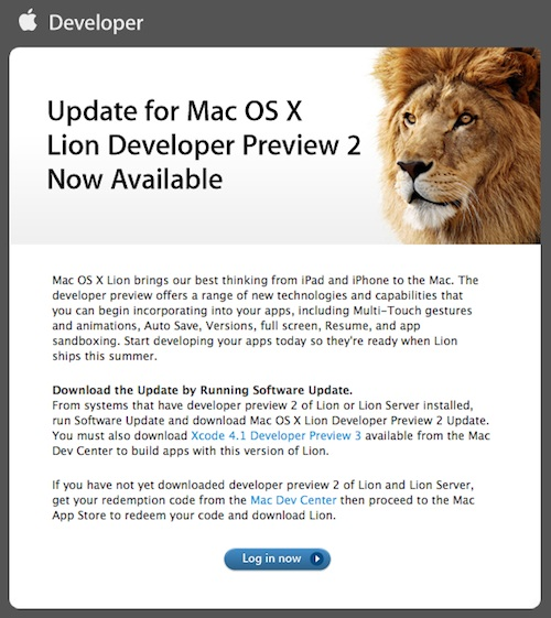Apple Releases Update to Mac OS X Lion Developer Preview 2 - MacRumors