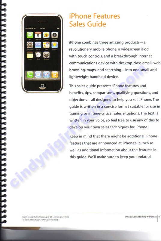 iphone details from at t s sales training workbook mac rumors rh macrumors com sales training guide pdf sales rep training guide